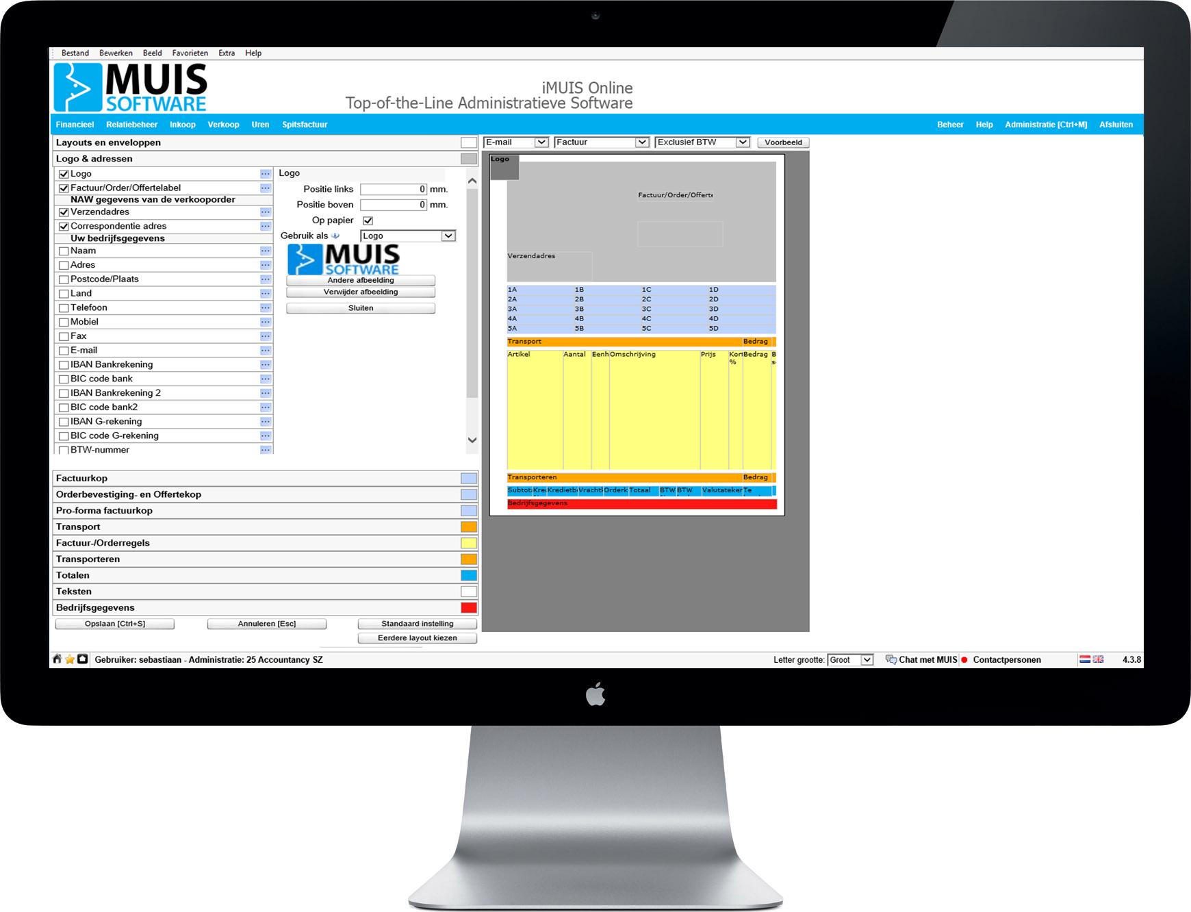 iMUIS Online Verkoop. Facturen eenvoudig naar eigen wens aan te passen.
