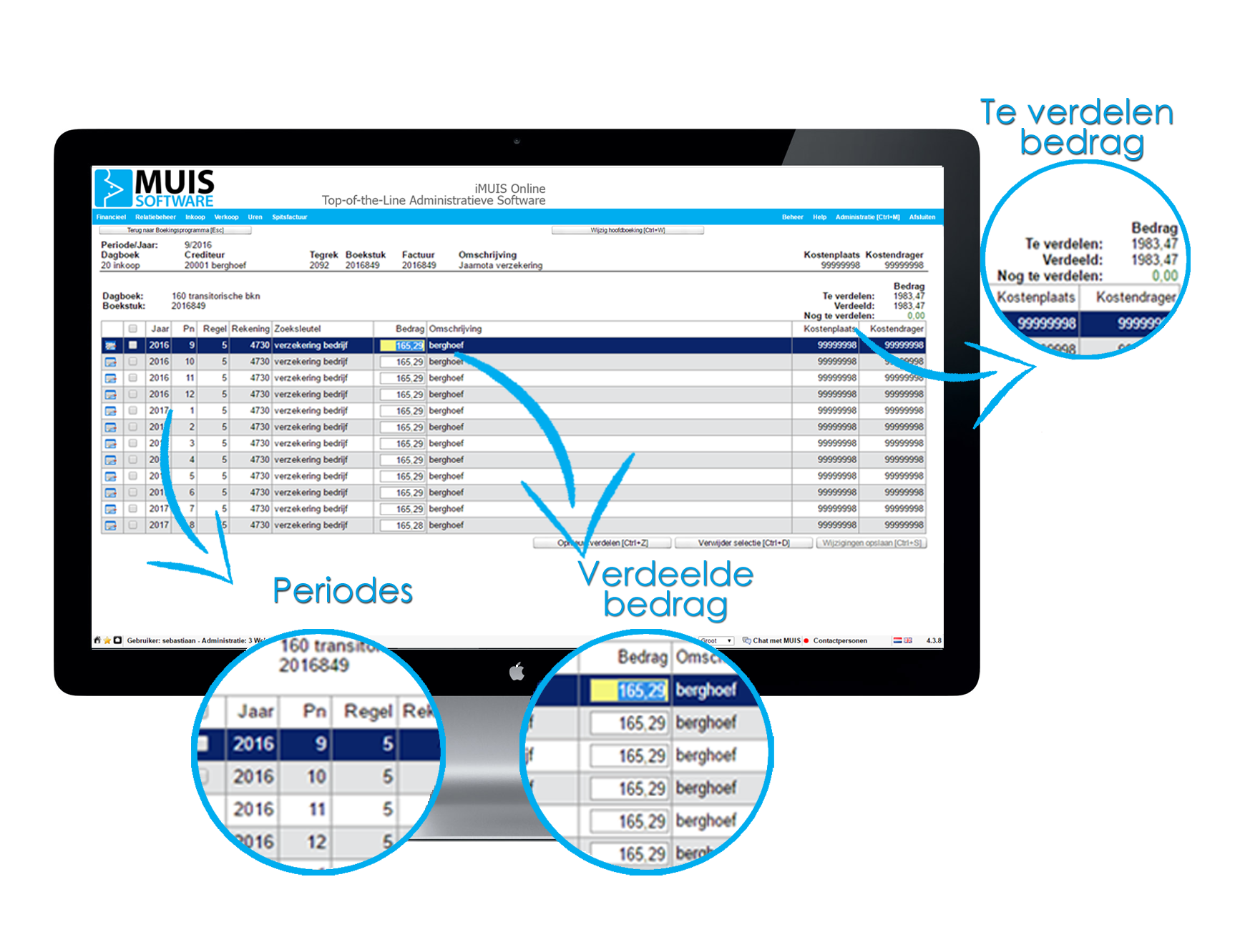 Met iMUIS Online Transitorische Posten verdeel je je opbrengsten over de maanden of jaren waar ze betrekking op hebben.