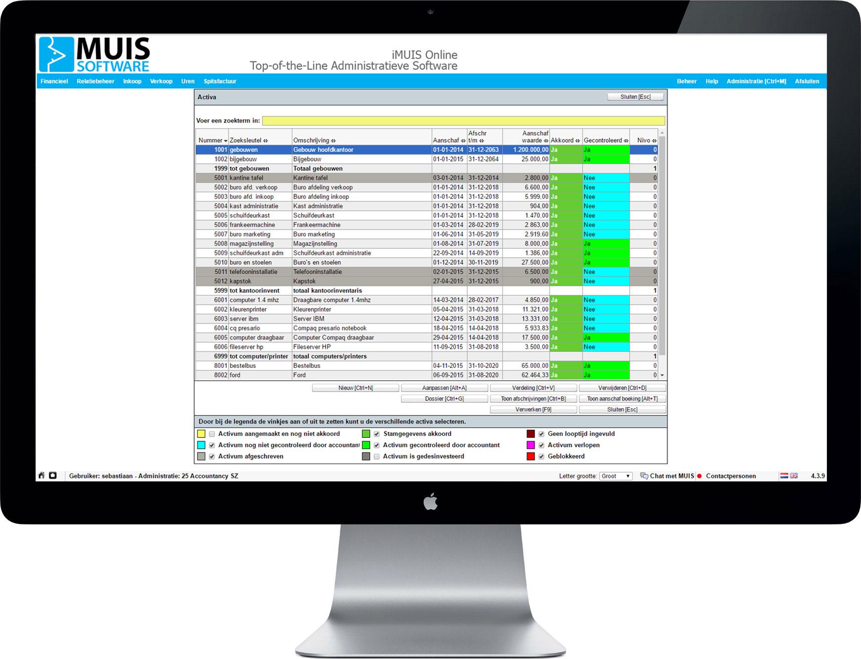 Met iMUIS Online kunnen afschrijvingen eenvoudig beheerd worden met de module Activa Register.